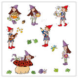 Magical elves, mushrooms, music, leaves Stock Images