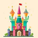 Magical fabulous cartoon castle. Vector flat illustrations Stock Photo