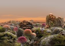 Magical Fairy Mushroom World Fantasy royalty free illustration