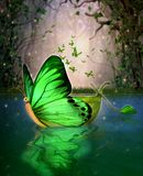 Magical Fairy Wildwood Water Craft Boat Butterfly Shape. A magical fairy wildwood water craft boat in a butterfly shape,  floating through a hidden lake, 3d
