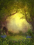 Magical Fairy Woods. 3D rendering of a magical fairy forest opening with a castle in the background Royalty Free Stock Image