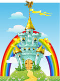 Magical fairytale blue castle with flags Royalty Free Stock Photo