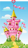 Magical fairytale pink castle with flag Royalty Free Stock Photos
