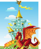 Magical fairytale red Dragon near the magic castle Royalty Free Stock Image