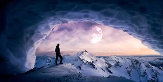 Magical Fantasy Adventre Composite of Man Hiking in an Ice Cave