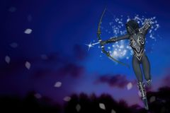 Magical Fantasy Dark Elf Archer Background Illustration Stock Photos