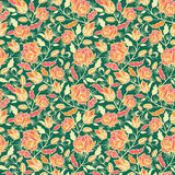 Magical flowers and leaves seamless pattern Royalty Free Stock Photos