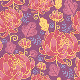 Magical flowers seamless pattern background. Vector magical flowers elegant seamless pattern on purple background royalty free illustration