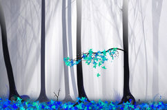 Magical forest illustration with fog and lights Stock Photos