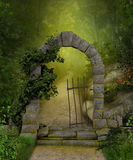 Magical Forest Path. 3D painting of a beautiful stone portal and a magic path through a lush green forest stock illustration