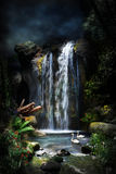 Magical forest waterfall-1 stock photo