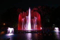Magical fountain in Margaret Island Budapest by night Royalty Free Stock Images