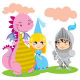 Magical Friends. Knight in steel armor talks with pretty blond princess and her pink dragon friend Royalty Free Stock Photo