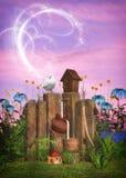 Magical garden scene. 3D Digital render of a magical garden scene with dove Stock Images