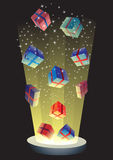 Magical gift boxes. And stardust vector illustration