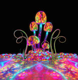 Magical glowing mushrooms Royalty Free Stock Images