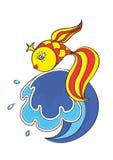 Magical goldfish on the wave stock illustration