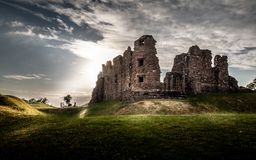 Magical gorgeous moody view of Brough Castle in Cumbria, England. UK royalty free stock photography