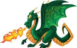 Magical green fire-spitting dragon Royalty Free Stock Image