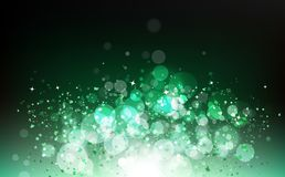 Magical green, nature season, stars falling with ribbons confetti, energy, glowing particles blurry scatter blinking shine royalty free illustration