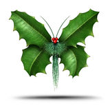 Magical Holiday Holly Butterfly Royalty Free Stock Photography