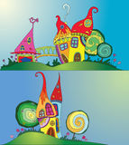 Magical houses. Vith trees. illustration Royalty Free Stock Images