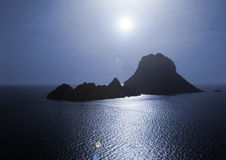 The magical island of Es Vedra. The beautiful little island of Es Vedra in Ibiza (Spain), well known by its numerous UFO sightings and many other mythical tales Royalty Free Stock Image