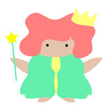 Magical Kingdom. Clip art  graphic of charming chubby character with a gold crown and golden star wand Royalty Free Stock Photography