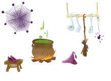 Magical kitchen of Halloween with shoes and hat of wizard drawn by watercolor vector illustration