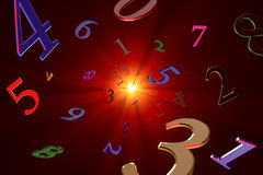 Magical knowledge about numbers (Numerology). A lot of numbers on a beautiful art background Stock Photos