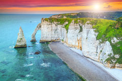 Magical la Manneporte natural rock arch wonder,Etretat,Normandy,France Stock Image