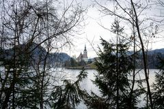 Magical lake Bled Slovenia. Church on lake Bled through my eyes, winter in Slovenia Stock Images