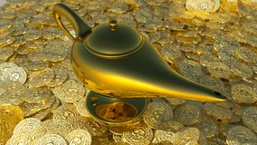 Magical lamp of Aladdin. 3D render. Aladdin magic lamp background illustration. 3D render Royalty Free Stock Photo