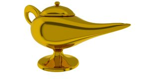 Magical lamp of Aladdin. 3D render. Aladdin magic lamp isolated on white. 3D render royalty free illustration