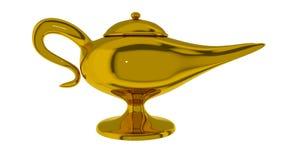 Magical lamp of Aladdin. 3D render. Aladdin magic lamp isolated on white. 3D render stock illustration
