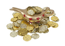 Magical Lamp Full of Gold Coins Stock Photo