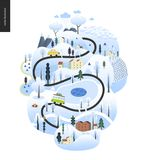 Magical landscape concept. Magical winter landscape - snowed up island with hills, roads, cars, houses and snow-covered trees, with mountains and snow clouds vector illustration