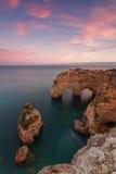 The magical landscape sunset beach Marinha. The magical landscape sunset beach Marinha in Portugal Stock Photo