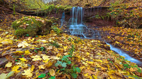 A magical landscape with a waterfall in the autumn forest (harmo Stock Image