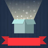 Magical light out of box illustration design Stock Images