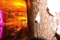 Magical lighting inside Khewra salt mine Stock Photos