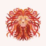 A magical lion with a patterned rich mane.  Stock Photos