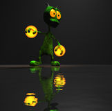 Magical little cartoon alien character. Quality 3d render of cartoon alien holding magic Stock Photography