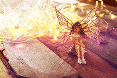 Magical little fairy in the forest next to old story book. Image of magical little fairy in the forest next to old story book. vintage filtered Royalty Free Stock Images