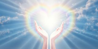 Free Magical Love Healing Universal Energy, Rainbow Heart Hands Royalty Free Stock Photography - 164537767