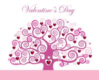 Magical love tree with curly hearts branches Stock Photos