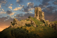 Magical medieval corfe castle Stock Photography