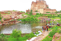 Magical Mehrangarh Fort, Jodhpur, Rajasthan,india. Lake in front of This magical magnificent and huge fort contains seven gates, the main ones are Jayapol and stock images