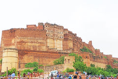 Magical Mehrangarh Fort, Jodhpur, Rajasthan,india. This magical magnificent and huge fort contains seven gates, the main ones are Jayapol and built by Maharaja royalty free stock photo