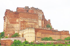 Magical Mehrangarh Fort, Jodhpur, Rajasthan,india. This magical magnificent and huge fort contains seven gates, the main ones are Jayapol and built by Maharaja stock photo